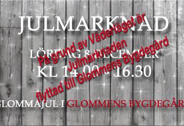 Glommens Julmarknad 2018 .. flyttas till Glommens Bygdegård